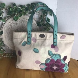 Fossil Canvas Tote with Leather Accents